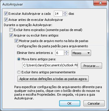 Caixa de diálogo de configurações de AutoArquivar