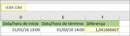 =E84-D84 e o resultado 1.041666667