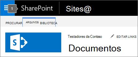 Canto superior esquerdo de SharePoint 2016 de tela mostrando title e inicializador de aplicativos