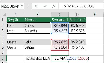 Usando SOMA com intervalos não contíguos.  A fórmula da célula C8 é =SOMA(C2:C3;C5:C6). Você também poderia usar Intervalos Nomeados, e a fórmula seria =SOMA(Semana1;Semana2).