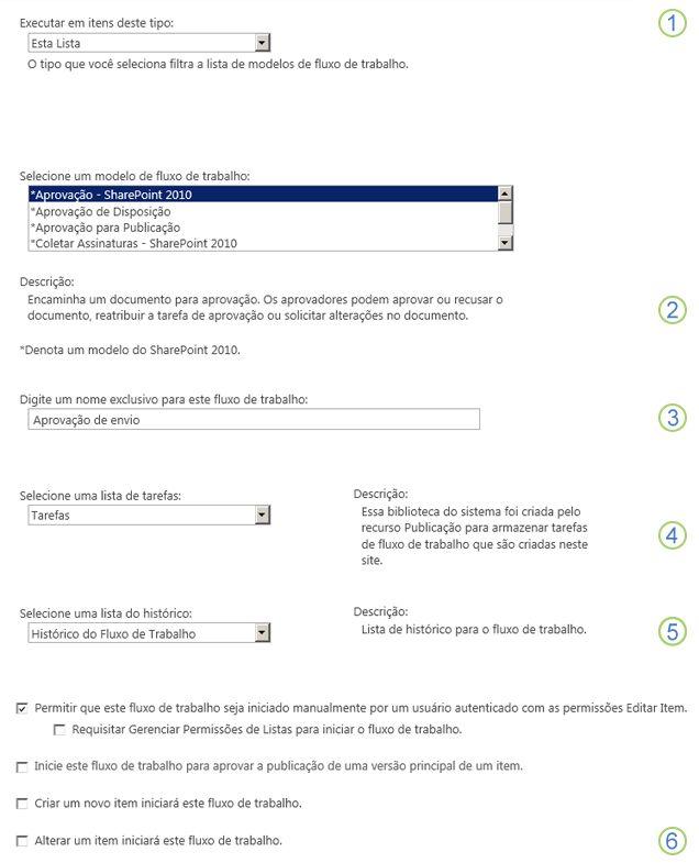 Informações básicas para adicionar um fluxo de trabalho com explicações sobre as seções