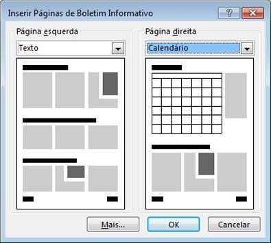 Adicionar novas páginas ao boletim informativo com a caixa de diálogo Inserir Páginas de Boletim Informativo.