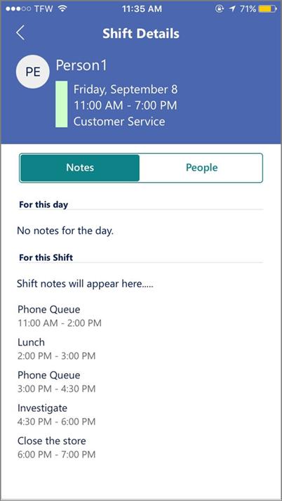 Captura de tela: Modo de exibição Staffhub atividades no dispositivo móvel