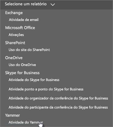 """Captura de tela do menu """"Selecionar um relatório"""" no painel Relatórios do Office 365"""
