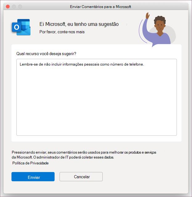 Caixa de diálogo comentários para Outlook no MacOS