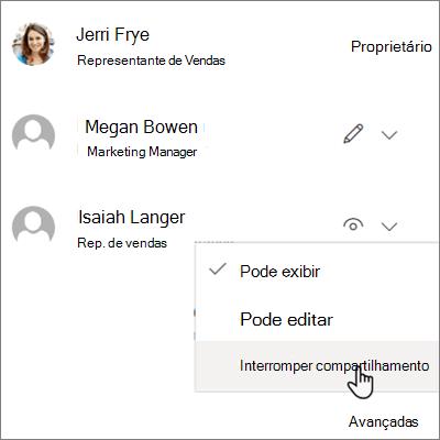Captura de tela de como interromper o compartilhamento com uma pessoa no OneDrive for Business