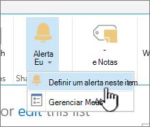 SharePoint 2016 definir um alerta em um item com o item selecionado