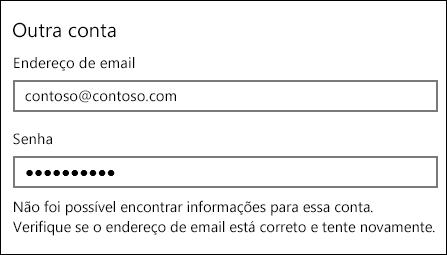 Mensagem de erro em Email
