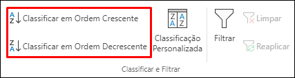 Botões de Classificação Crescente e Classificação Decrescente na guia Dados do Excel