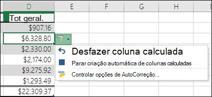 Opção para desfazer uma coluna calculada após uma fórmula foi inserida