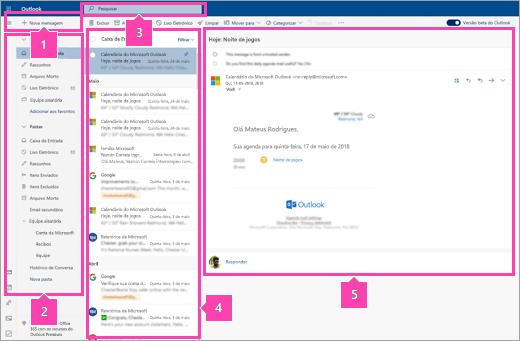 Uma captura de tela da interface do Email