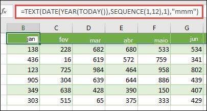 Use uma combinação das funções TEXTO, DATA, ANO, HOJE e SEQUÊNCIA para criar uma lista dinâmica de 12 meses