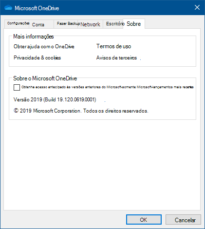 OneDrive sobre a Interface do Usuário