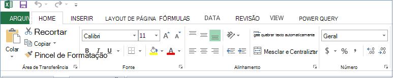 Todas as guias e comandos estão exibidos na Faixa de Opções.