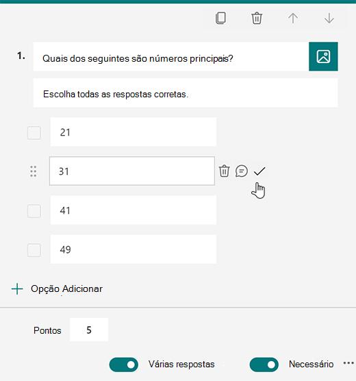 Opção de resposta correta para um teste no Microsoft Forms