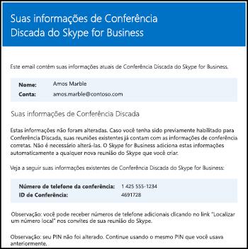 Email para conferência discada