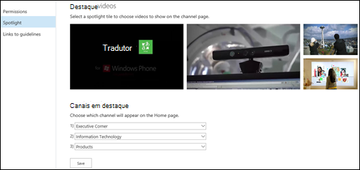Página de configurações do canal de portal - Destaques