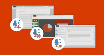 Três janelas de aplicativo mostrando um documento, uma apresentação e uma mensagem de email com um ícone de microfone próximo delas