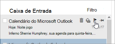 Uma captura de tela da opção sinalizador na lista de mensagens