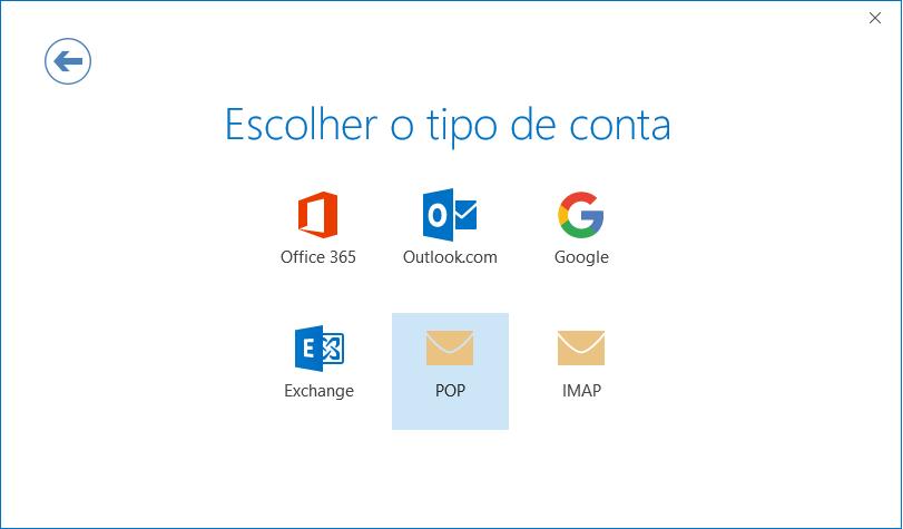 Caixa de diálogo Configuração de Contas, página do seletor de tipo de conta.