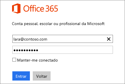 Captura de tela do painel de entrada do Office 365