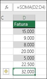O Excel exibe um erro quando uma fórmula ignora células em um intervalo.