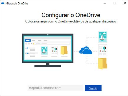 Tela de configuração do OneDrive
