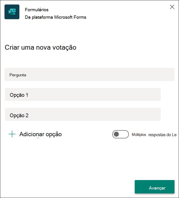 Resultados da pesquisa rápida de formulários no Microsoft Teams