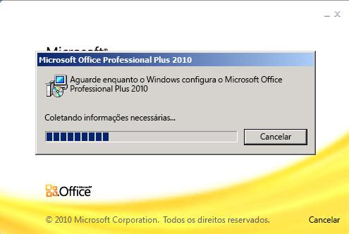 Caixa de diálogo Progresso da configuração do Microsoft Office Professional Plus 2010