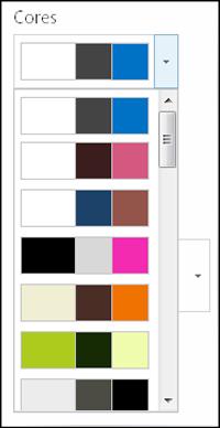 Captura de tela do menu de escolha de cor em um novo site do SharePoint
