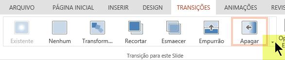 Para abrir a galeria completa de opções de Transição, clique na seta apontando para baixo na extremidade direita.