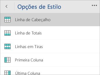 Captura de tela do menu Opções de Estilo com a opção Linha de Cabeçalho selecionada.