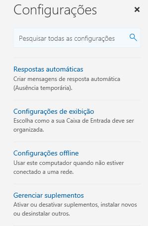 Escolha gerenciar suplementos no menu Configurações