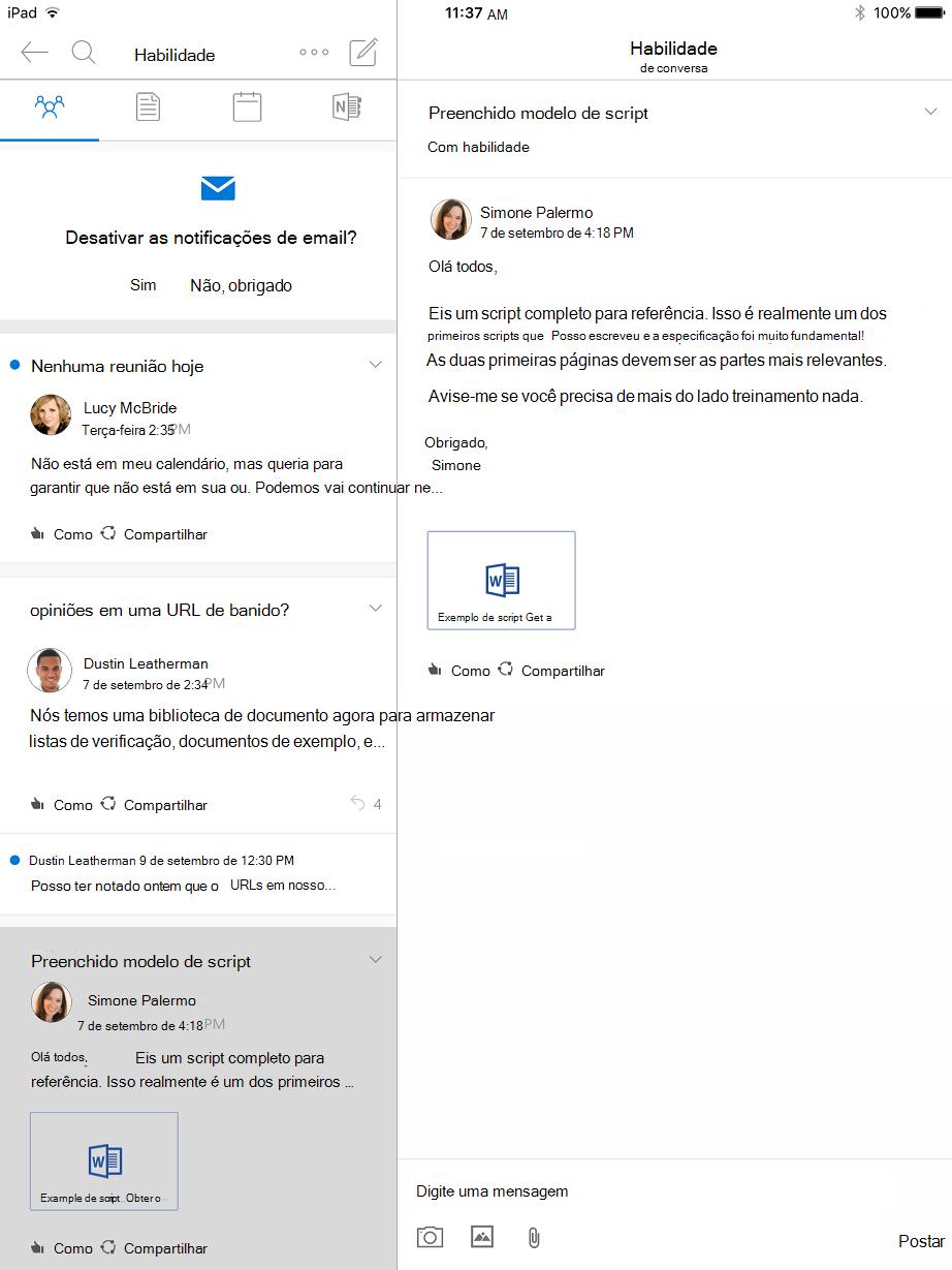 Exibição de conversa do Outlook grupos para iPad