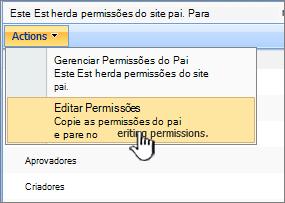 Opção de permissões no menu de ações de editar