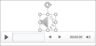 Controles e ícone de áudio