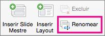 Comando para renomear o Slide Mestre no PPT para Mac