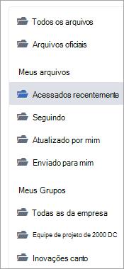 Lista mostrando locais de arquivos