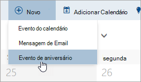 Uma captura de tela do menu Novo com o cursor sobre a opção para evento de aniversário