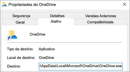 Uma captura de tela mostrando o menu de propriedades do aplicativo OneDrive.