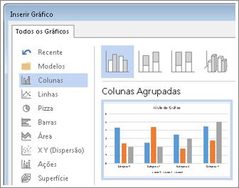 Caixa de diálogo Inserir Gráfico mostrando as opções e a visualização de gráficos