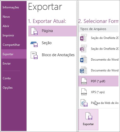 Você pode exportar anotações para outros formatos, como PDF, XPS ou documento do Word.