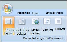 Captura de tela mostra o grupo de modos de exibição de documento com a opção de Layout de impressão selecionada. Outras opções disponíveis são leitura de tela inteira, Layout da Web, estrutura de tópicos e rascunho.