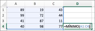 Exemplo mostrando o uso da função MÍNIMO
