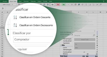 Planilha do Excel com uma Tabela Dinâmica e um zoom em um conjunto de recursos disponíveis