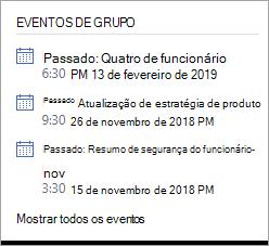 Seção de eventos do grupo do Yammer mostrando um evento ao vivo