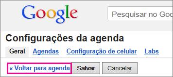 google agenda - clique em voltar para agenda