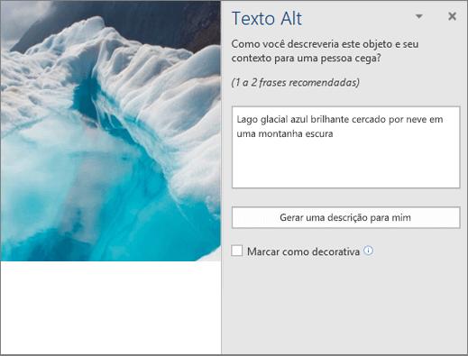 Caixa de diálogo novo Texto Alt mostrando o texto alt autogerado no Word