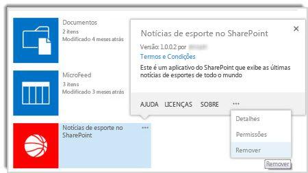 captura de tela do comando de remoção no balão de propriedades de um aplicativo.