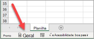 """A barra de status do Excel mostrando um rótulo de sensibilidade """"Geral"""" foi aplicada"""